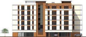 Stara Przędzalnia nowe mieszkania Żyrardów na sprzedaż - wizualizacja elewacji północno-wschodniej