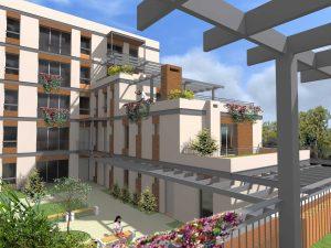 Stara Przędzalnia nowe mieszkania z tarasami wizualizacja widoku od zachodu