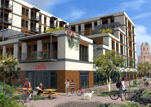 nowe mieszkania z tarasami Żyrardów wizualizacja widoku od południa
